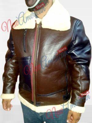 Mens Cockpit Military Pilot B3 Raf Bomber Fur Real Shearling Real Leather Jacket