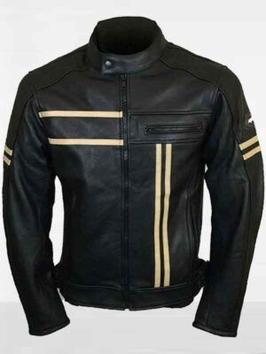 Black Retro Style Mens Leather Fashion Jacket