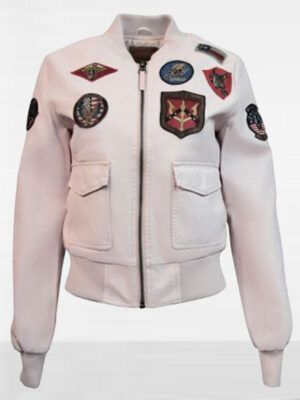 Womens Top Gun Light Pink Vegan Leather Jacket