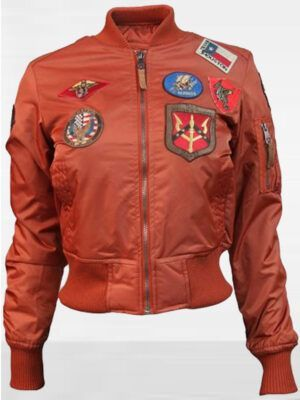 Womens Top Gun MA-1 Rust Bomber Jacket