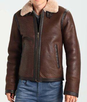 Mens Dark Brown Aviator Style Jacket