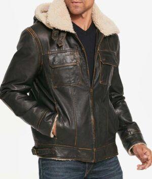 Mens Waxed Hooded Aviator Jacket