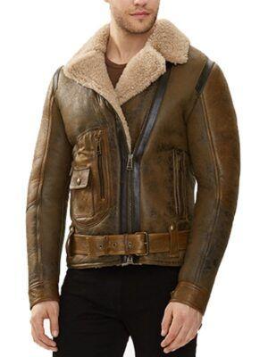 Mens Shearling Brown Waxed Jacket