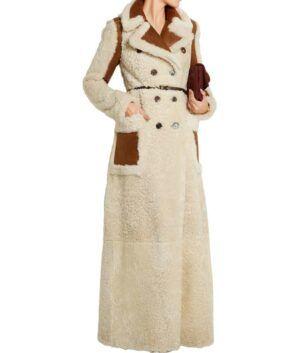Camila Double-Breasted Shearling Long Coat