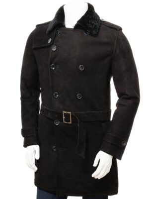 Mens Black Shearling Coat