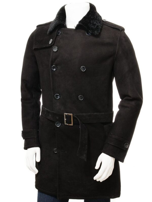 Mens Black Shearling Coat