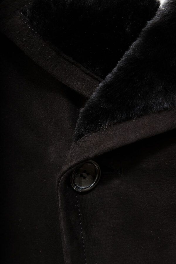 Shearling Black Coat for Men