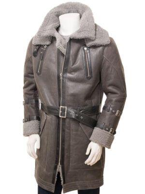 Men's Grey Sheepskin Coat