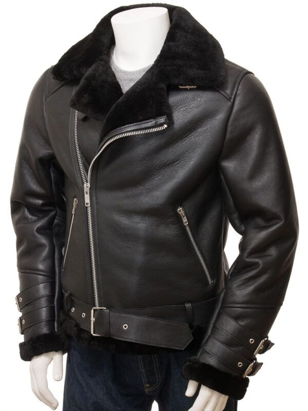 Mens Black Shearling Jacket