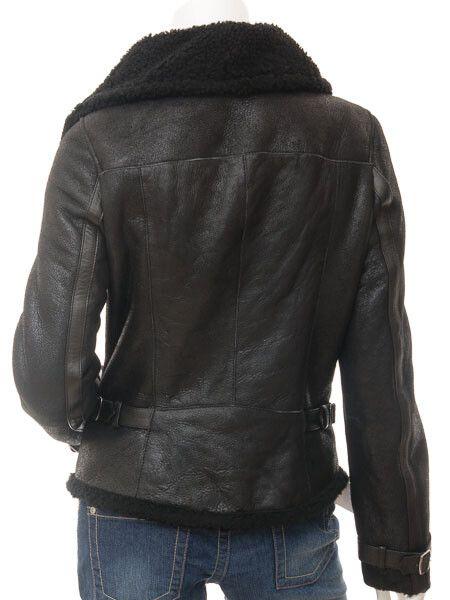 Womens Biker Sheepskin Jacket