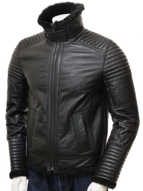 Mens Sheepskin Black Jacket