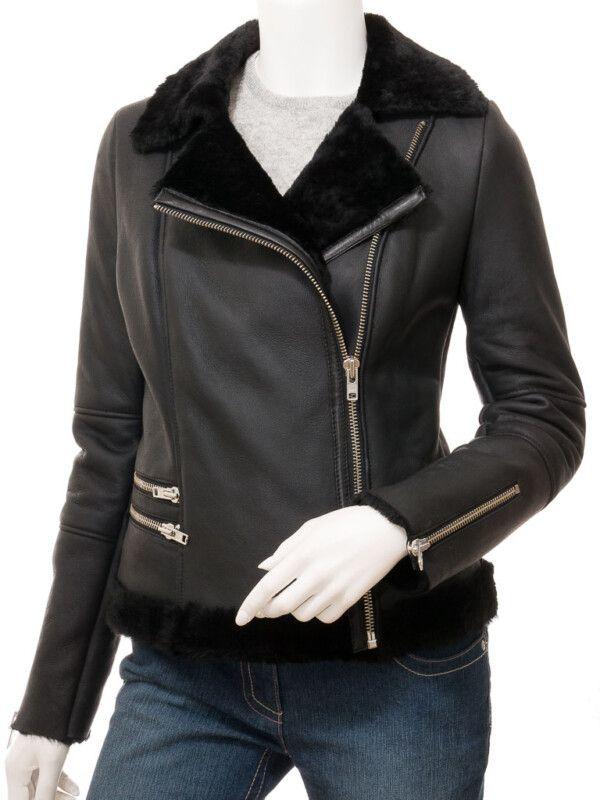 Women's Black Shearling Biker Jacket