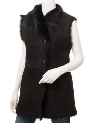 Women's Black Toscana Shearling Vest