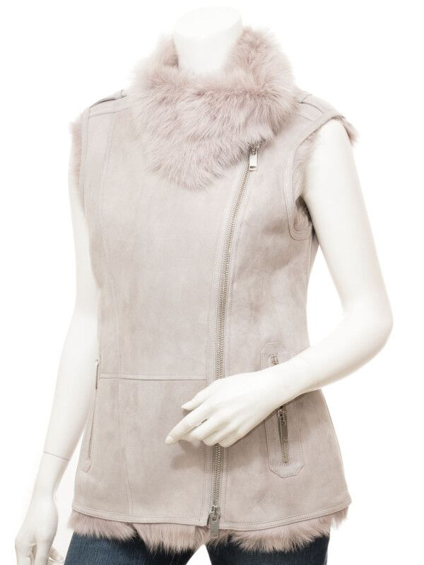 Womens Grey Shearling Vest