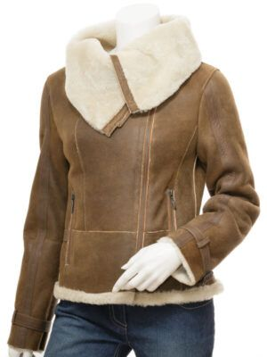 Womens Biker Sheepskin Tan Jacket