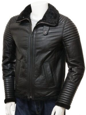 Mens Sheepskin Black Jacket