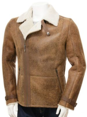 Mens Sheepskin Biker Tan Jacket