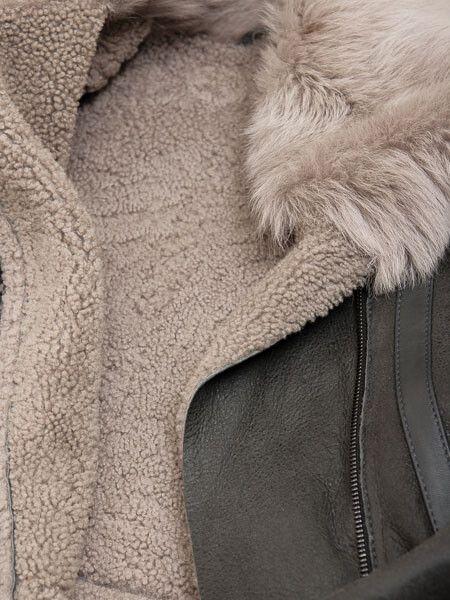 Womens Grey Shearling Jacket