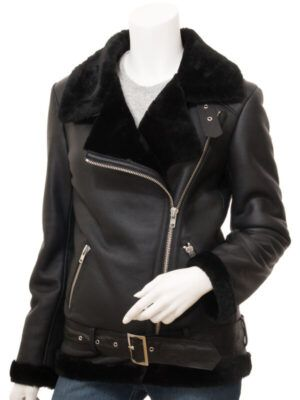 Womens Black Shearling Biker Jacket