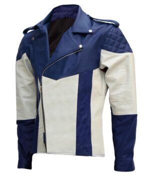 Mens Blue and White Motorcycle Jacket