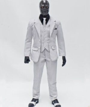 Birds of Prey Black Mask White Pinstripe Suit