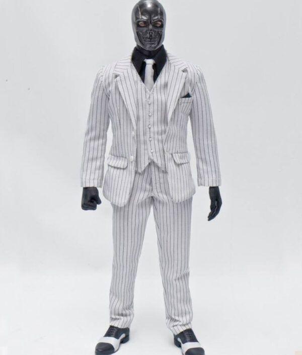 Birds of Prey Black Mask White Pinstripe Suit