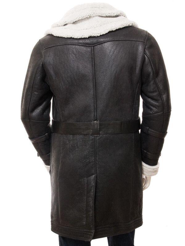 Mens Black Sheepskin Trench Coat