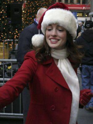 Anne Hathaway Christmas Coat