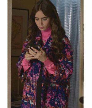Emily In Paris Lily Collins Floral Coat