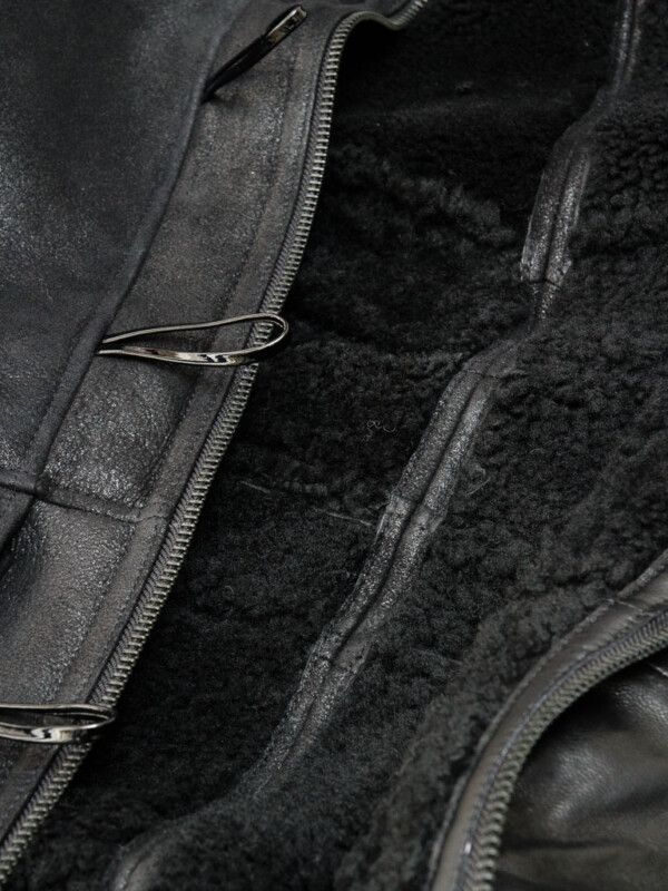 Mens Black Sheepskin Duffle Coat