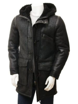 Mens Black Sheepskin Duffle Coat