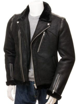 Men's Black Shearling Biker Jacket