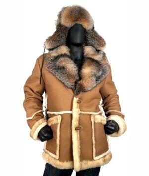 Calvin Sheepskin Shearling Toggled Coat