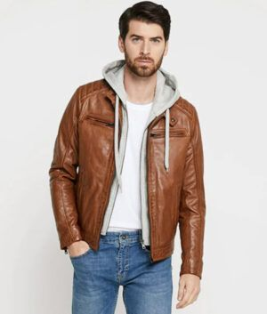 Mens Hooded Brown Jacket