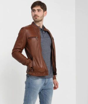 Mens Brown Cafe Racer Jacket