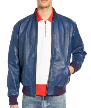 Mens Blue Slimfit Bomber Jacket