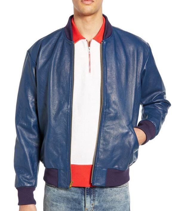 Mens Blue Slimfit Bomber Jacket