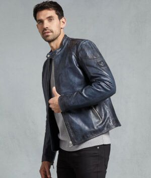 Mens Blue Cafe-Racer Jacket