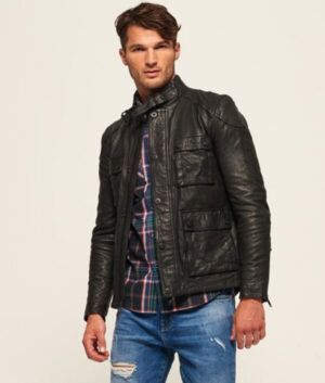 Mens Classy Black Slim-Fit Leather Jacket