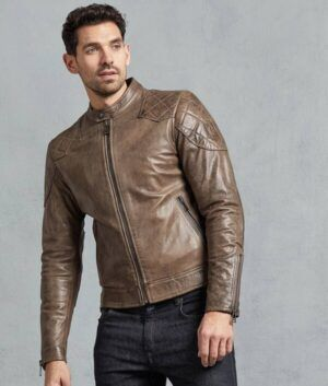 Mens Casual Bronze Biker Jacket