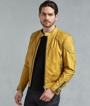 Mens Yellow Leather Jacket
