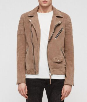 Mens Taupe Brown Suede Jacket