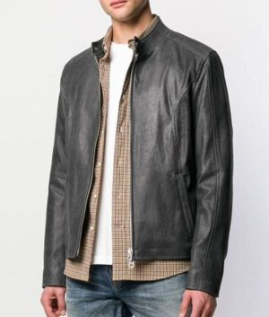 Mens Grey Classic Leather Jacket