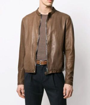 Mens Slimfit Brown Biker Jacket