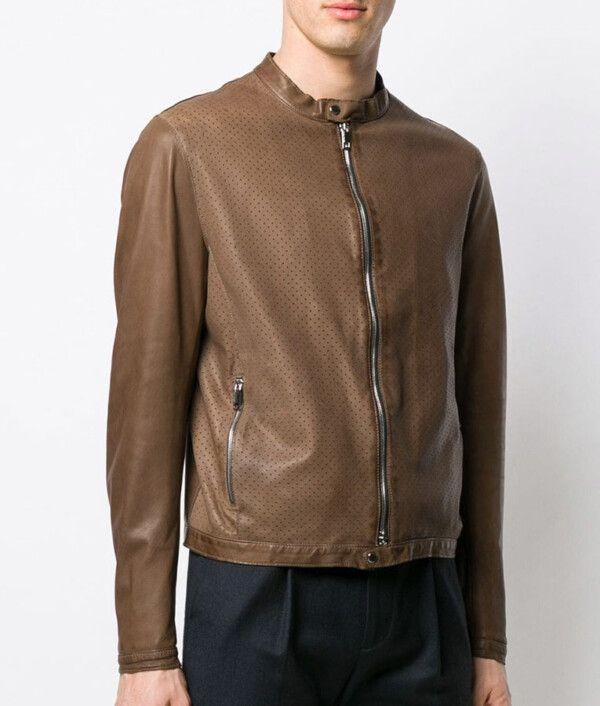 Mens Slimfit Brown Biker Jacket