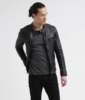 Mens Distressed Black Jacket