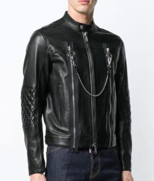 Mens Black Leather Cafe Racer Jacket