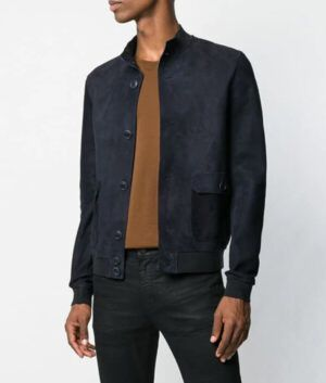 Mens Navy-Blue Slimfit Jacket