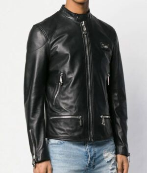 Mens Black Leather Style Jacket