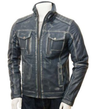 Mens Waxed Blue Jacket